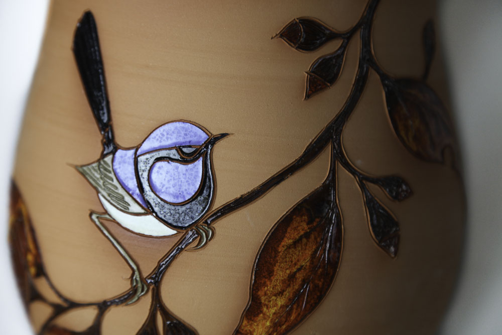Terracotta Blue Fairy-wren with red gum leaves #10 - Click Image to Close