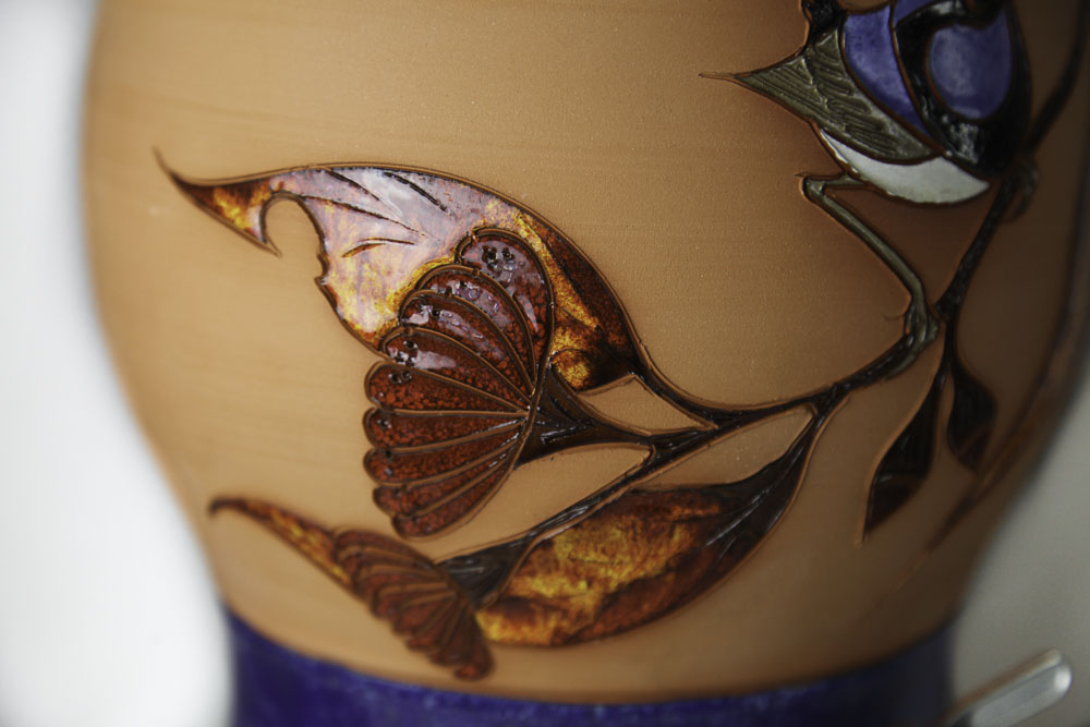 Terracotta Blue Fairy-wren with red/orange gum leaves - Click Image to Close