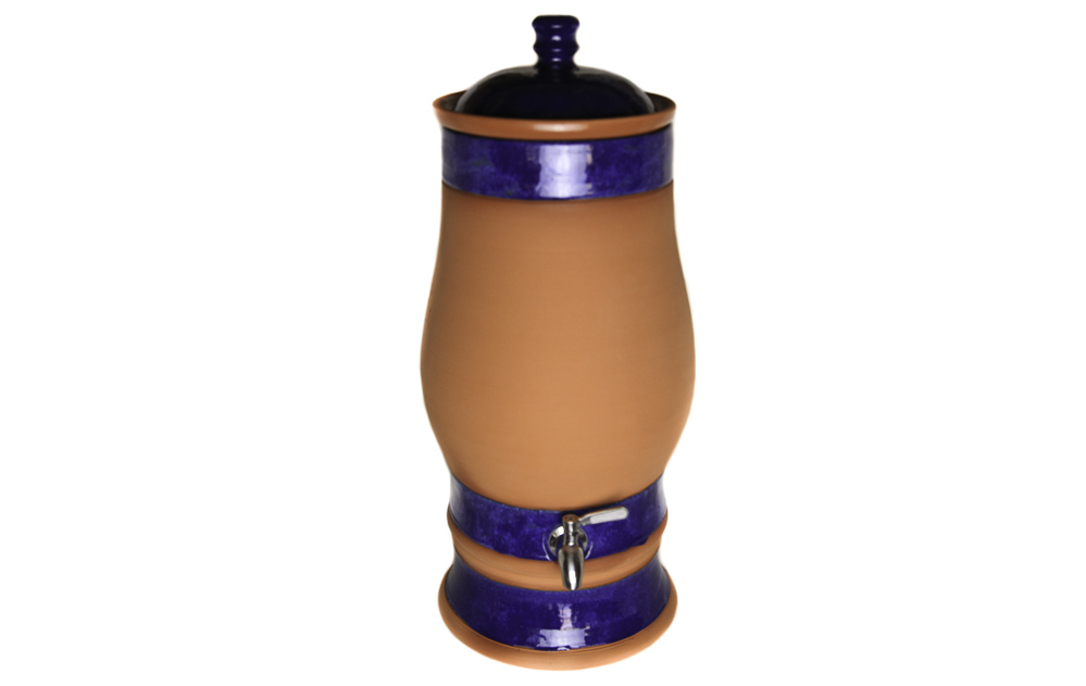 Benchtop Water Filter - Terracotta Blue Glazed bands