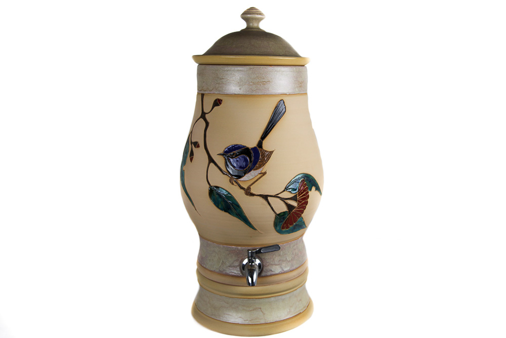 Blue Wren Bird with Red Gum Nuts White Clay Water Purifier
