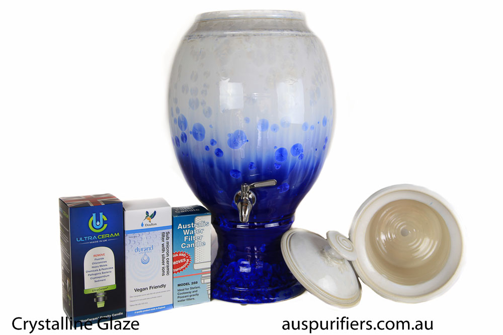 Crystalline Glazed Water Filter - White and Blue Crystals 9L