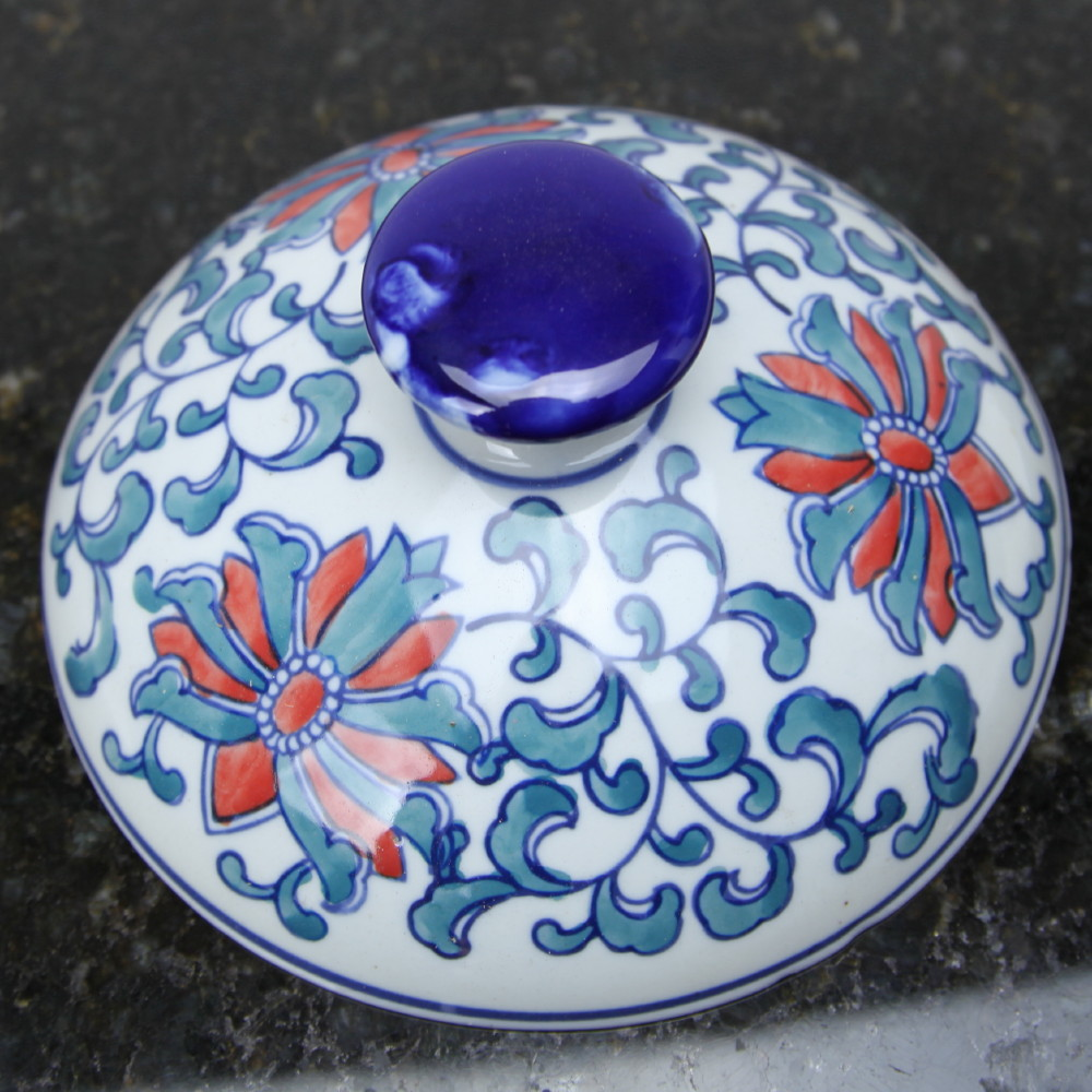 Porcelain Ming Rose Lid (top missing glaze)